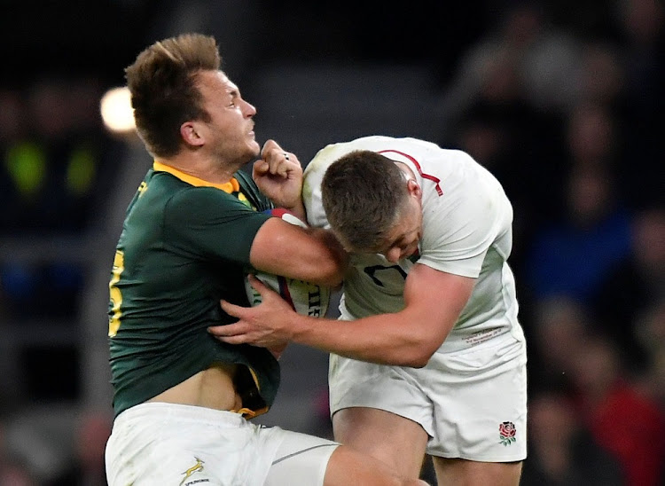 England's Owen Farrell challenges South Africa's Andre Esterhuizen at Twickenham Stadium, Britain, November 3 2018. Picture: REUTERS/TOBY MELVILLE