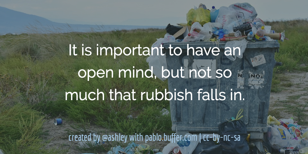 It is important to have an open mind, but not so much that rubbish falls in.