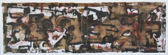 """Photo: """"Art pariétal"""". Peinture acrylique et glycéro sur toile. 10x0cm, format horizontal."""