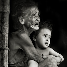 Two Generations by Subrata Kar - People Street & Candids ( babies, monochrome, black and white, old women, together )