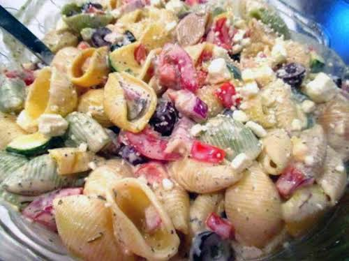 """Awesome Greek Pasta Salad """"This is one of the best pasta salads..."""