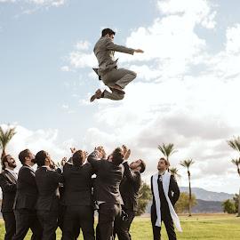 Jump for Joy by Kate Gansneder - Wedding Groups ( groom, wedding photography, bridal party, groomsmen, wedding, palm trees )