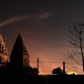 sunset in prambanan by Achmad Bachtiar - Landscapes Sunsets & Sunrises ( temple, sunset, indonesia, prambanan, klaten )