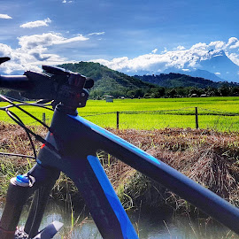 Mount Kinabalu by Zairul Sabanah - Transportation Bicycles ( cloud, mountain, green, cycling, paddy field )