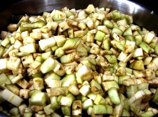 Liberally salt diced eggplant and set aside to drain for 30 minutes. Rinse well...