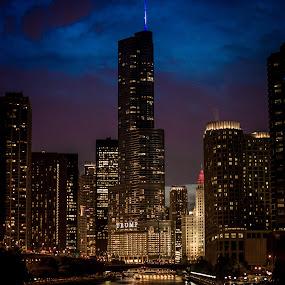 Blue Hour Chicago by David Kreutzer - City,  Street & Park  Night ( cityscapes, building, blue hour, street, photo walk, night, cityscape, chicago, city, river, trump )