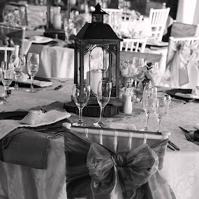 Table Setting by Luciana Popa - Black & White Objects & Still Life ( #event, #table, #dinner, #black&white, #dinnersetting, #galadinner, #tablesetting, #wedding, #weddingphotography )