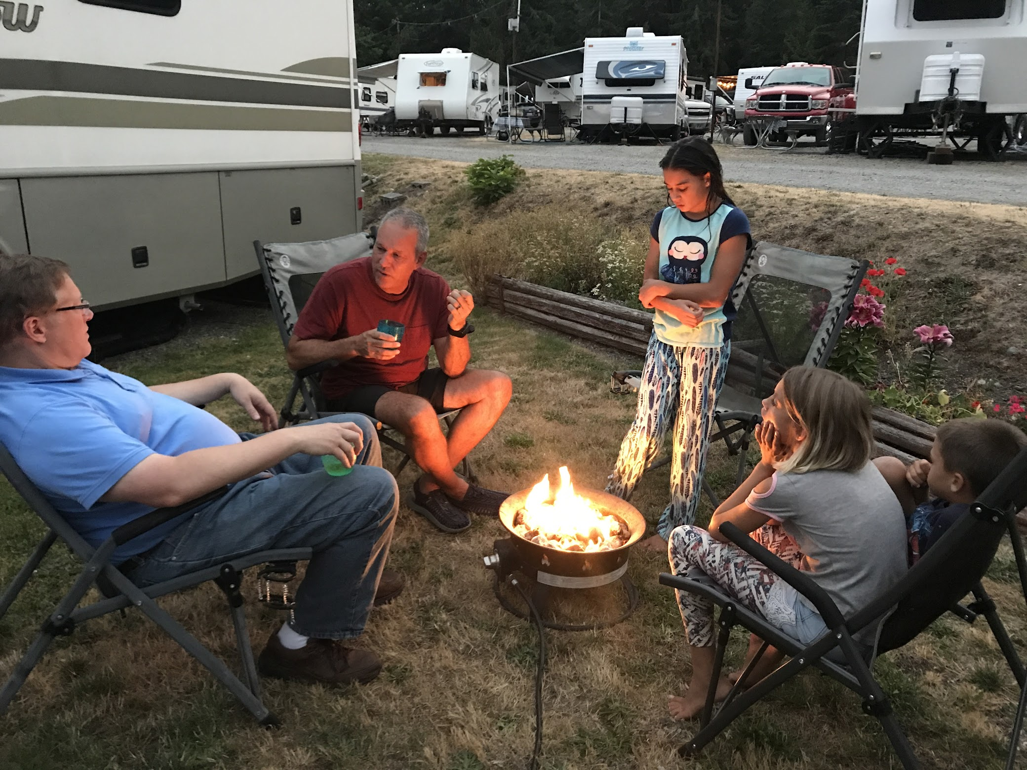 Campfire at John Wayne Campground in Sequim, Washington.
