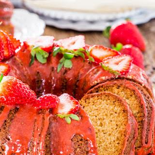 Pound Cake with Strawberry Glaze.