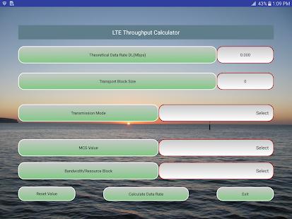 LTE-4G Throughput Calculator screenshot