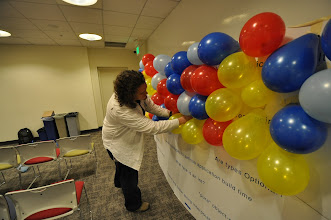 Photo: Chris helping install the balloons.