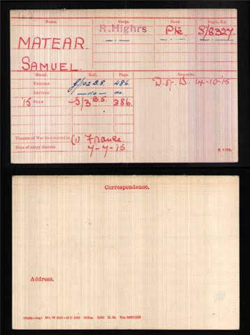 Samuel Matear's Medal Index Card