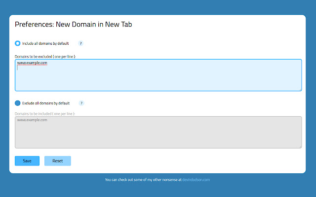 New Domain in New Tab