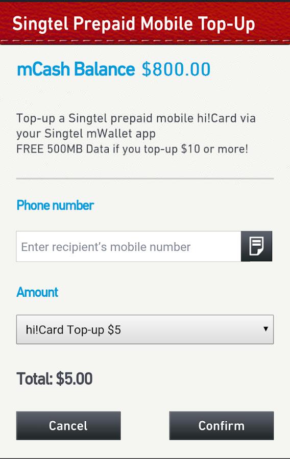 Singtel mWallet- screenshot