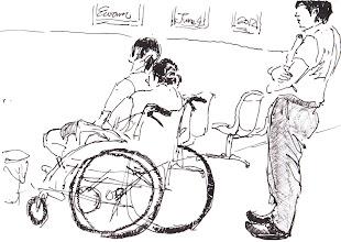 Photo: 女監候診2012.06.04鋼筆 同樣的,候診時必須面壁等候…