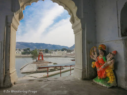 India. Rajasthan Pushkar . Pushkar Lake from one of the Ghats