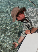 Photo: Releasing a Blue Runner on the flats- Andros Island 2011