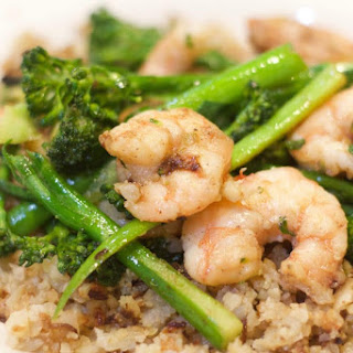 Garlicky Shrimp With Broccoli Rabe and Cauliflower Rice.