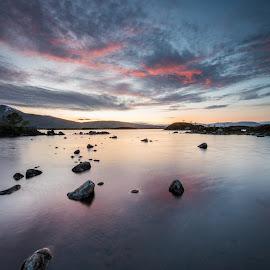 Fire in the sky. by Haim Rosenfeld - Landscapes Sunsets & Sunrises ( exposure, scotland, stream, old, europe, mountain, scape, colorful, land, stone, rock, flow, beauty, landscape, shot, sky, tree, kingdom, movement, foreground, water, clouds, united, uk, purple, colors, green, scottish, atmosphere, image, lake, scenic, highlands, morning, photo, dusk, picture, great, sunset, outdoor, scene, moody, brown, view, scenery, milky, britain )