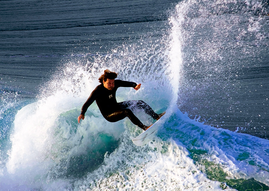 Top Slide by Juliet Newton - Sports & Fitness Surfing ( spray, fitness, blue, green, waves, tropical, action, sport, surf, board, man, wetsuit )