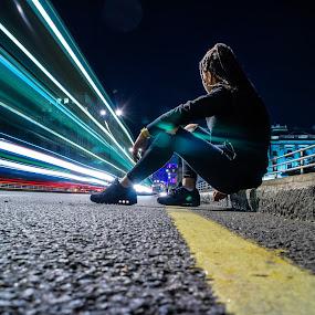 The Time Capsule by Nachau Kirwan - People Street & Candids ( lights, night photography, happy, daughter, fun, street lights )