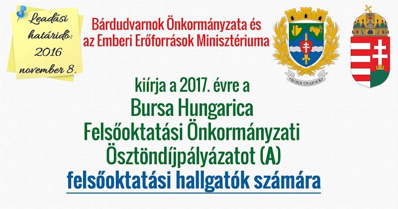 Bursa Hungarica pályázat felsőoktatási hallgatók 2017