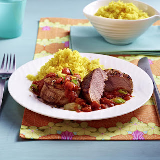 Pork Medallions with Curry Rice and Tomato Sauce