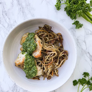Chimichurri Chicken Thighs with Spiced Spiralized Potatoes Recipe