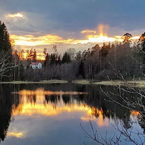 Country house by the lake by Eva Larsson - Landscapes Waterscapes ( lake sunset sky water house countryside )