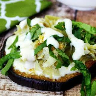 Roasted Eggplant and Artichoke Rounds with Creamy Garlic Sauce (Vegan, Gluten-Free, Dairy-Free, Paleo-Friendly).