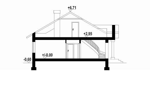 Zadębie średnie z garażem - Przekrój