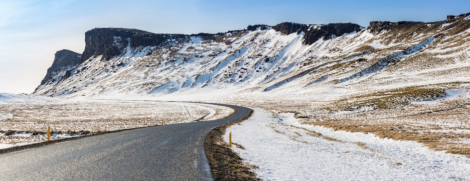 mountain snow and road in iceland