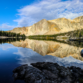 Peak Reflection by Kirby Hornbeck - Landscapes Mountains & Hills ( mountains, reflections, lakes, clouds, trees, wyoming )