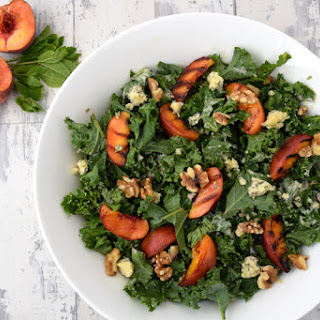 Kale Salad With Grilled Peach, Blue Cheese and Tahini Dressing [vegetarian]