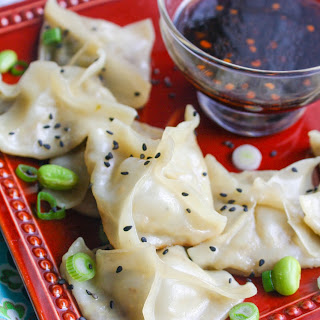 Edamame and Mushroom Potstickers with Dipping Sauce.