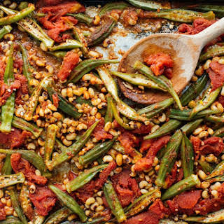 Sheet Pan Roasted Okra, Black-Eyed Peas, and Tomatoes.