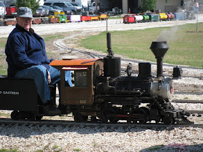 Photo: Bob Sanford on his narrow gauge 2-4-2.   HALS 2009-0228