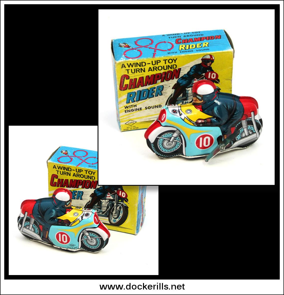 "Photo: Yoneya ""Champion Rider"" Motorbike, Japan.  Clockwork / Wind-Up. Action - Fixed key. Large key changes direction.  Visit my blog - Collecting Tin Toys at  http://tinplatetoys.blogspot.co.uk/"