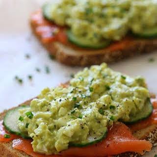 Healthy Avocado Egg Salad and Salmon Sandwich.
