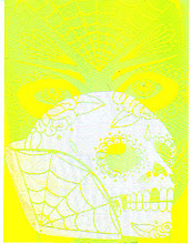 Photo: Mail Art 366 - Day 107, card 107d this one will not scan right, my scanner hates flourescent colors