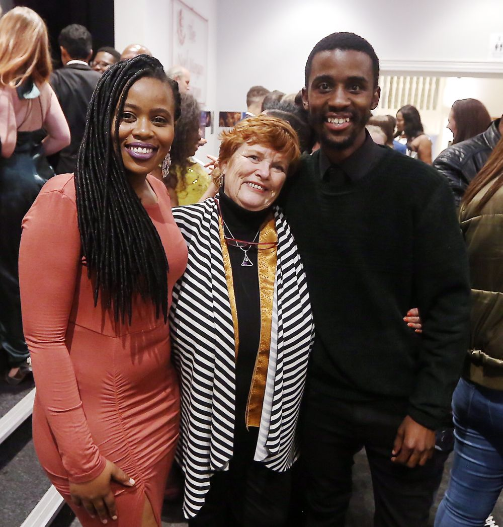 Sibabalwe Ngewu, left, Liz Yates and Nkosinathi Rodrigues were at the opening of 'Rent The Musical' at Pemads Little Theatre on Wednesday