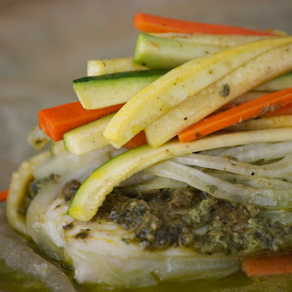 Halibut En Papillote With Pesto & Julienned Vegetables