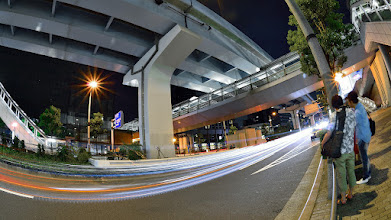Photo: ■Today's Elevated Expressways This photo is taken by +Takahiro Yanai ! Tokyo Metropolitan Expressways Bayshore Line (首都高速湾岸線)) in the end of the Google+ one year anniversary Photowalk in Tokyo. 今日の高架道路をご紹介します。 Photowalkの最後の最後にTS。 光跡撮影教室♪ +Elevated Expressways #elevatedexpressways  #architecture #fisheye  #G+1PhotoJapan #G+AnniversaryTokyo #G+Anniversary