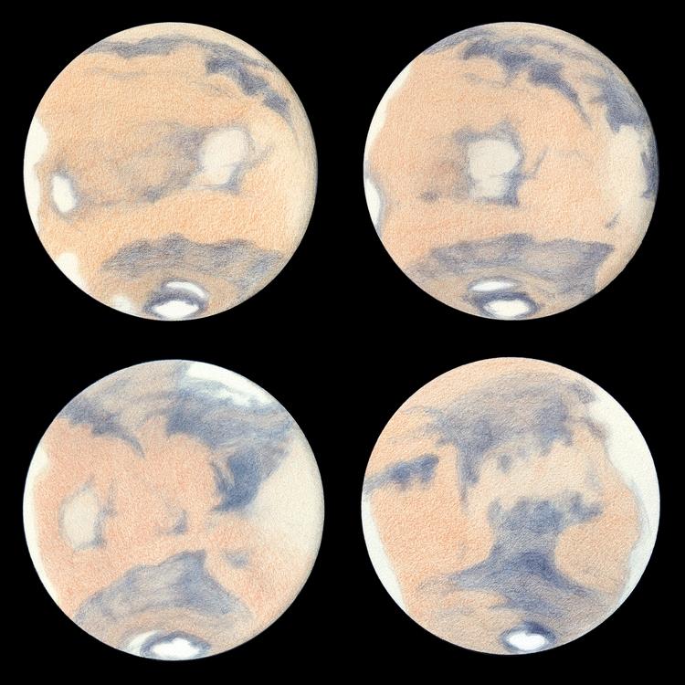 Photo: Mars au printemps 2014 (de gauche à droite et de haut en bas : 1er mai, 29 avril, 23 avril, 10 avril).  Au T406 à 470X en bino, les 2 dessins du haut faits à Tenerife dans la caldeira du Teide avec un très bon seeing.
