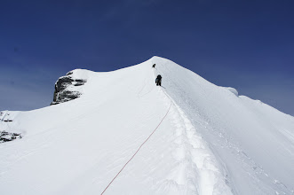 Photo: Looking up the snow arete.