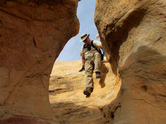 Paul descending some moqui steps