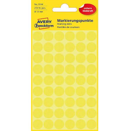 Etikett 12mm rund gul   270/fp
