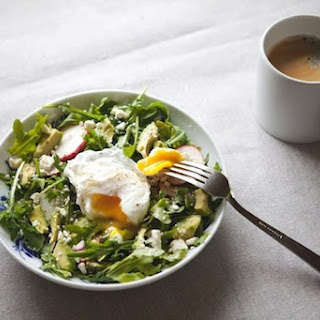 Arugula, Avocado and Radish Salad with Poached Egg