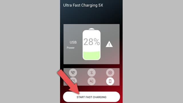 قم بشحن هاتفك الأن فى ساعه واحده مغ هذا التطبيق العظيم Ultra Fast Charging 5x