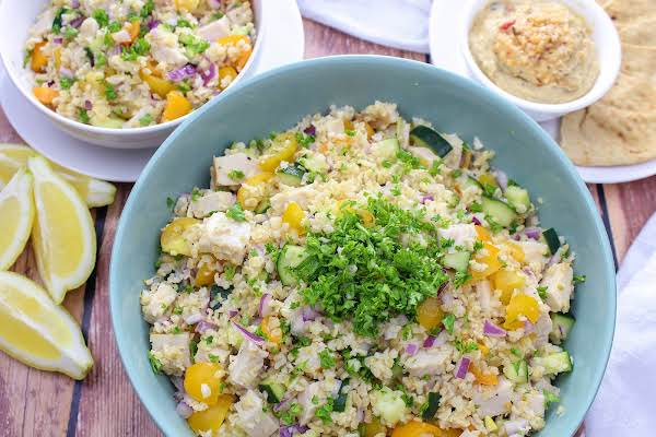 Bulgur Salad With Lemon-cumin Dressing In A Bowl.